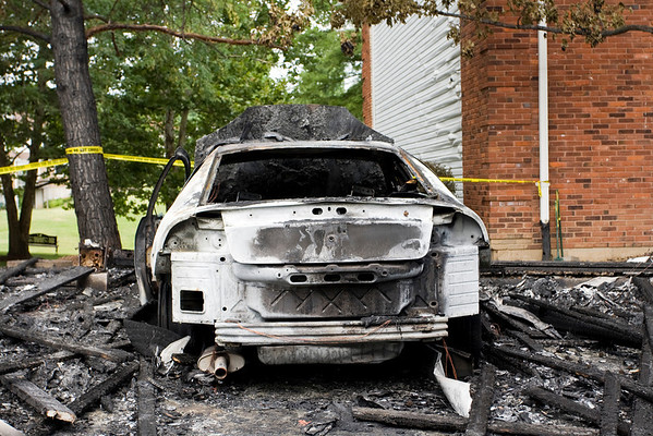 This is one of several cars that was completely destroyed.