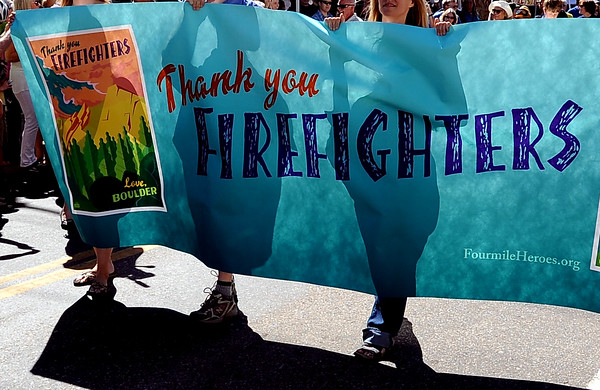 """A special parade  for the Fourmile firefighters was held during the Boulder Green Streets celebration.<br /> For a video of the parade, go to  <a href=""""http://www.dailycamera.com"""">http://www.dailycamera.com</a>.<br /> Cliff Grassmick / September 19, 2010"""
