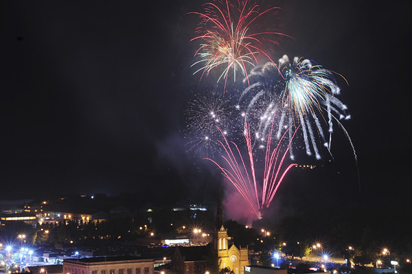 Fireworks light up the night sky over downtown New Castle.