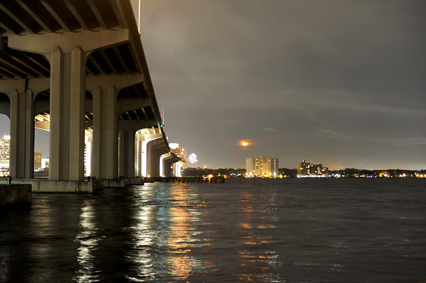 4th of July fireworks in Jacksonville, FL, 2012, over the St Johns River.