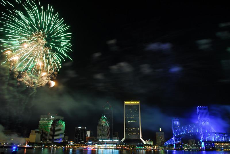 2011 holiday fireworks display at the Jacksonville Landing over the St. Johns River in Jacksonville, FL.