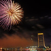 2011 holiday fireworks display at the Jacksonville Landing over the St. Johns River in Jacksonville, FL.