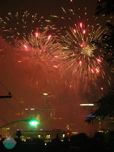 Fireworks going off in Cincinnati.