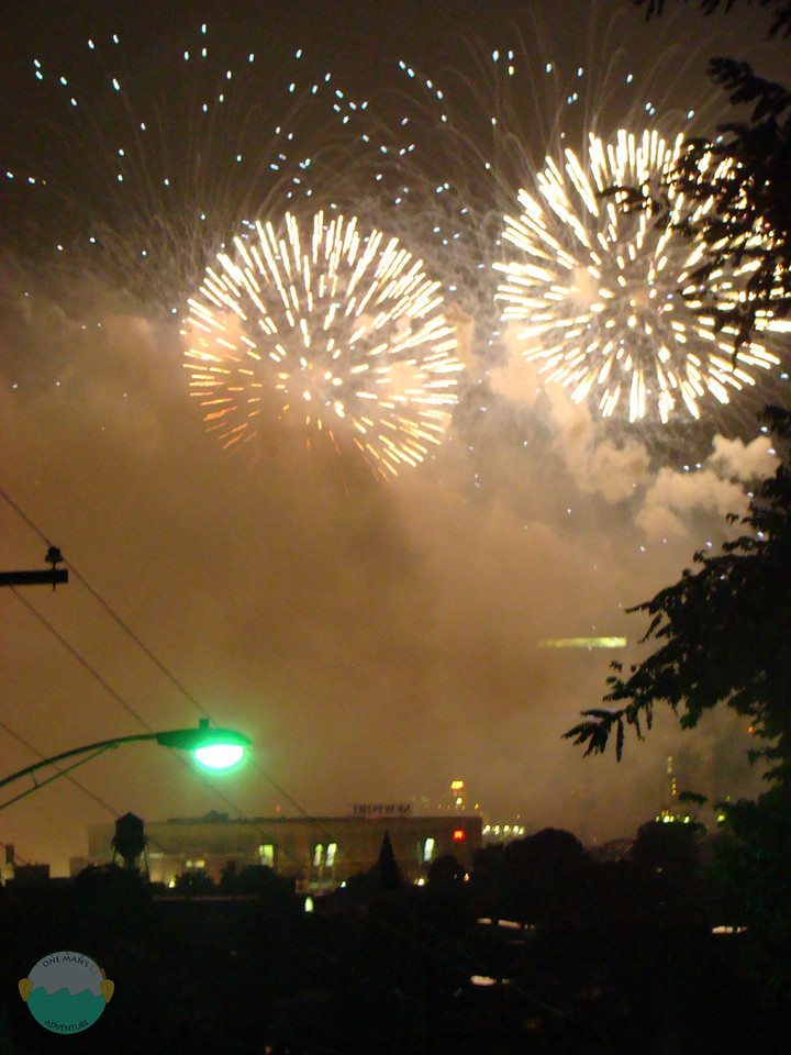 View from Vine Street in Newport of the fireworks.  With the rain storm smoke was an obvious problem.