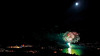 Labor Day Fireworks, Lake Tahoe, NV, with moon.