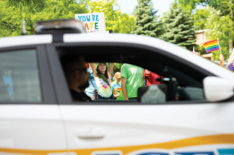 Matthew Gaston | The Sheridan Press<br>The Sheridan Police Department assisted and supported parade goers as the marched down Main Street to Grinnell Plaza during the first Sheridan WYO Pride March Saturday, June 22, 2019.