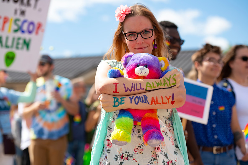 "Matthew Gaston | The Sheridan Press<br>Samantha Jacob makes the solem promise, ""I will always be your ally!"" during the first Sheridan WYO Pride March Saturday, June 22, 2019."