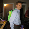 Matt heading to an important business meeting with a frog backpack