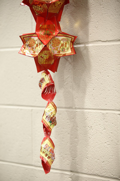 Chinese lantern which was made of red pockets.