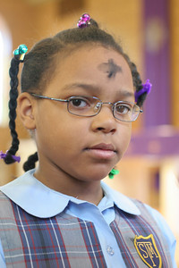 St. Thomas More School first grader Siobhan Davenport on Ash Wenesday;