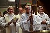 Fr. Jim Walters (local superior of Sacred Heart Monastery), Fr. Bryon Haaland (provincial councilor), Justin Krenke (novice) and Fr. Ed Zemlik (coordinator of ESL). — at Sacred Heart School of Theology.