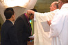 Juancho receives the profession cross — at Sacred Heart School of Theology.