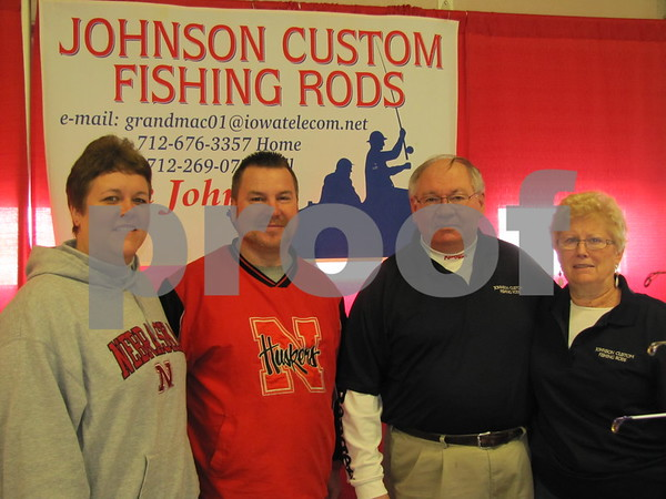 Kathy and Ron Huffman, and Jack and Charlotte Johnson of Johnson Custom Fishing Rods at the Fort Dodge Sportsman's Show.