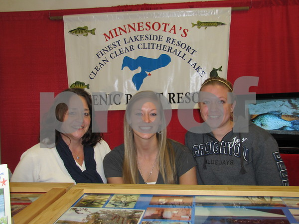 Brenda Colton, Chelsea Colton, and Kristine Ayres were sharing information about Scenic Point Resort in Clitherall Lake, Minnesota.