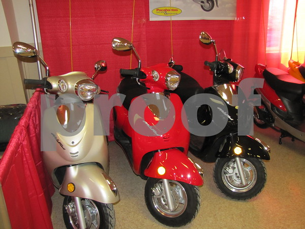 MotoFino bikes on display by Pocahontas Sales & Service at the Fort Dodge Sportsman's Show at the Webster County Fairgrounds.