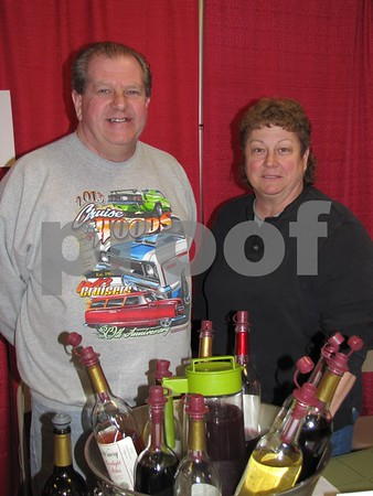 Bill and Cindy Bush of Garden Winery of Gowrie were on hand with wine samples and a huge array of outdoor themed bottle holders.