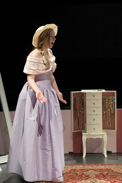 "Matthew Gaston | The Sheridan Press<br>Mindy, played by Emmy Winter, is frazzeled by the events of the day and cannot stop bumping into things during the dress rehearsal for ""Five Women Wearing the Same Dress"" in the Mars Theater at the WYO Performing Arts and Eduction Center Tuesday, April 9, 2019."