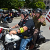 MIKE McMAHON - MMcMAHON@DIGITALFIRSTMEDIA.COM, Patriot Guard Rider Ned Mead rides with WWII Army veteran George Williams of Niskayuna in the 48th flag day parade in Troy, Sunday June 14, 2015