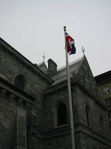Dominican flag over Holyoke City Hall. For more about the flag, click here.