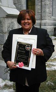 A Maria Mercedes por su gran ejemplo en nuestra comunidad.  por La Familia Hispana, Inc. Honoring Maria Mercedes, Holyoke Public School Bus Driver for over 10 years.