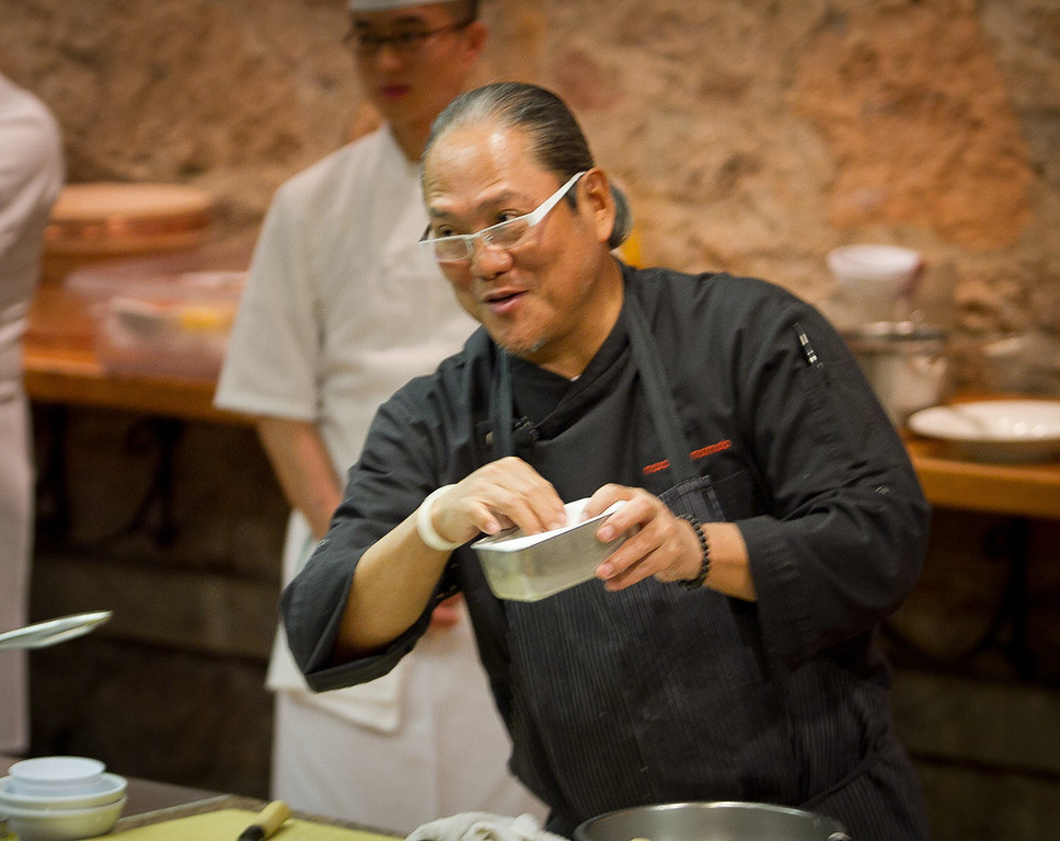 Chef Masahara Morimoto prepares sushi during his cooking demonstration at the Napa Flavor event being held at the CIA Greystone  in St. Helena, Calif.,  on Saturday, November 19th, 2011.
