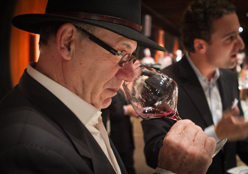 Franco Massari bells a Cabernet Franc at the Napa Flavor Gala being held at the CIA Greystone in St. Helena, Calif., is seen on November 18th, 2011.