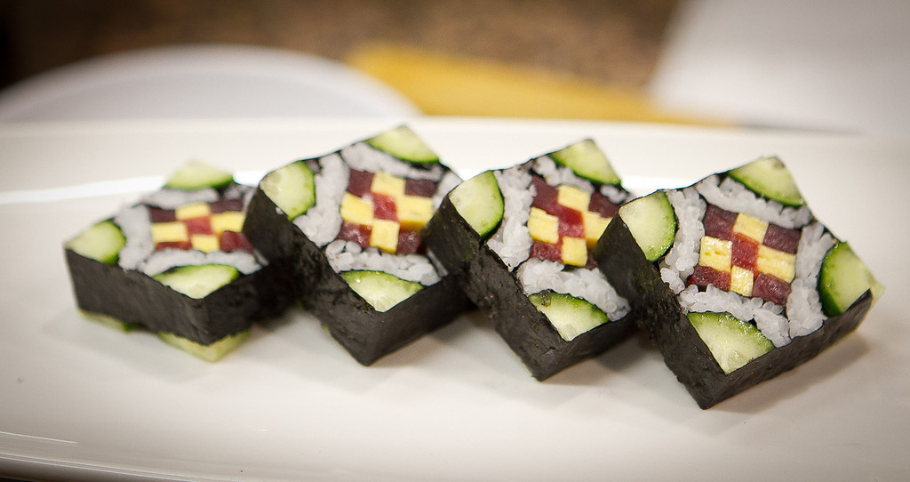 one of  Chef Masahara Morimoto sushi rolls that he prepared during his cooking demonstration at the Napa Flavor event being held at the CIA Greystone  in St. Helena, Calif.,  on Saturday, November 19th, 2011.