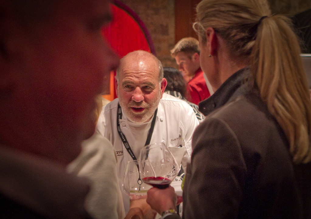 Chef Bob Hurley talks with guests at the Napa Flavor Gala being held at the CIA Greystone in St. Helena, Calif., is seen on November 18th, 2011.