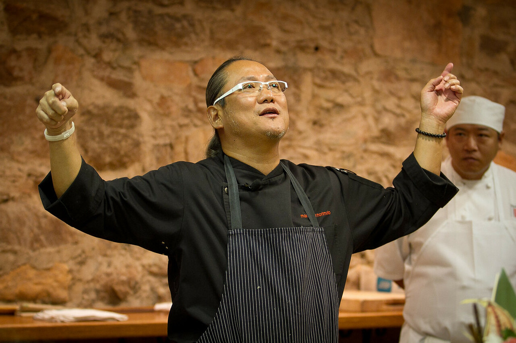 Chef Masahara Morimoto talks about sushi during his cooking demonstration at the Napa Flavor event being held at the CIA Greystone  in St. Helena, Calif.,  on Saturday, November 19th, 2011.