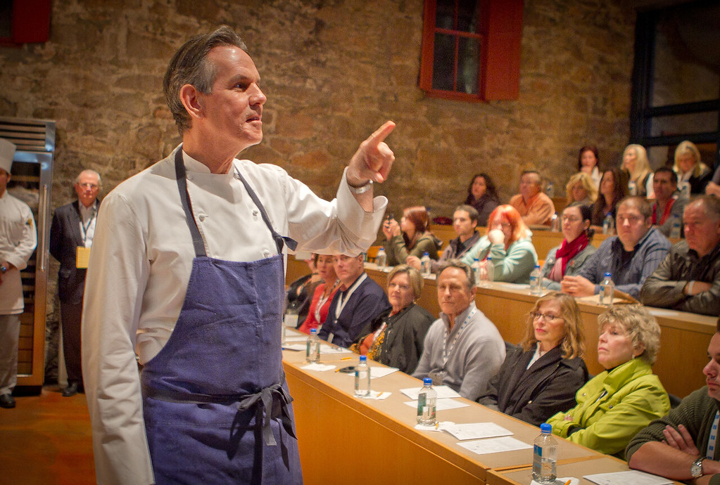 Chef Thomas Keller talks about poaching with the attendees  at his cooking demonstration during the Napa Flavor event being held at the CIA Greystone  in St. Helena, Calif.,  on Saturday, November 19th, 2011.