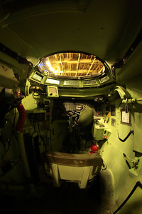 View of the driver's position in the Amphibious Assault Vehicle (AAV), on the USS Wasp.