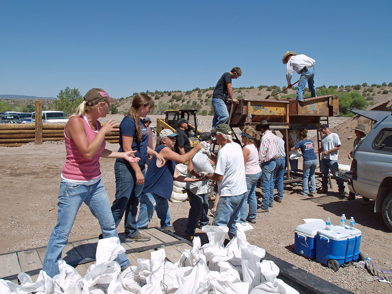 """Bucket brigade"" style from the bagger to a flatbed trailer, then driven and placed by the same volunteers. <br /> Many wells sandbagged against being overwashed, and general property protection."