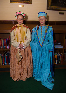 "Leoni (9) and Nyah (10) of Chevy Chase MD try on costumes in ""Shakespeare's Dressing Room"""