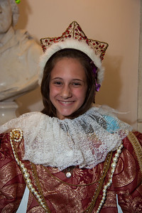 "Paige (11) of Silver Spring MD tries on a crown in ""Shakespeare's Dressing Room"""
