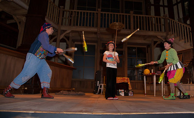 Nick Newlin and Joanne Flynn of The Nicolo Whimsey Show (jesters and Jugglers) perform in the Folger Theatre.