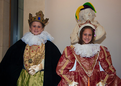 "Aiden (9) and Paige (11) of Silver Spring MD try on crowns in ""Shakespeare's Dressing Room"""