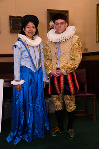 Jennifer and Matthew, members of the Washington DC medieval reading group try on some period costumes