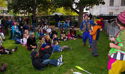 The Nicolo Whimsey Show performs in the Elizabethan Garden