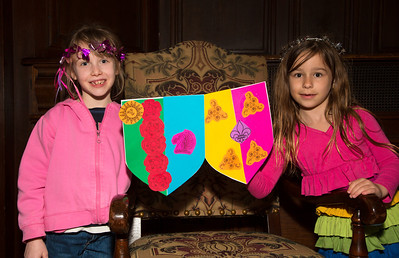 Edie (7) and Abigail (6) from Boston MA show off their home made shields