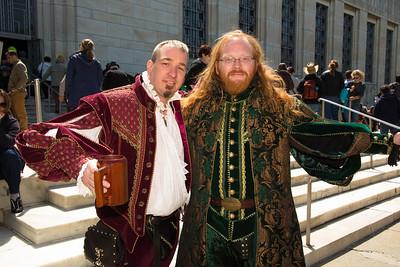 Parris and Declan in Elizabethan garb