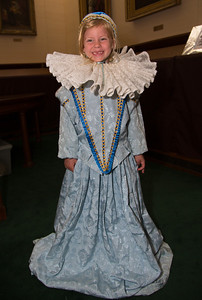 Claire (age 7 1/2) poses in Elizabethan dress