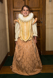 Camille Quinn (age 8) from Fairfax Va. tries on clothes from Shakespeare's Closet in the New Reading Room