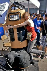Maradydd hugging a leatherclad cock