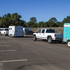 Riders and horses arrived in rigs of all sizes.  Early arrivals were able to be located on the dirt near the start (desirable for the horses).  Later the parking lot area set aside for the event accommodated the remaining rigs.