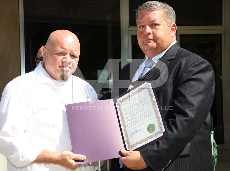 Barney Wemple Jr, receives proclimation for his father Barney Wemple Sr