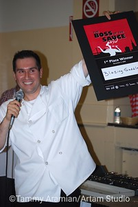 Master of Ceremonies announces First Place to Blazing Saddles, a Santa Rosa caterer