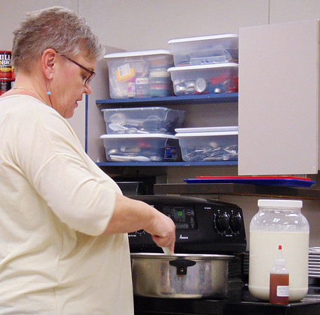 Debbie Blank | The Herald-Tribune A 6-quart pan, slotted spoon and colander are other pieces of needed cheesemaking equipment, said Bonnie Robbins.