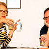 "Debbie Blank | The Herald-Tribune<br /> Dr. Mary and Mike Robertson, Batesville, were among attendees who tried a Common Threads, Chicago, activity. In two cups, they compared how long it took white vinegar to break up small squares of white and wheat breads when agitated. The teacher explained, ""Even though both of them start to break up, one obvious difference: The brown bread stays together while the white bread breaks apart quickly."" His conclusion was ""heartier bread makes you feel fuller longer."""