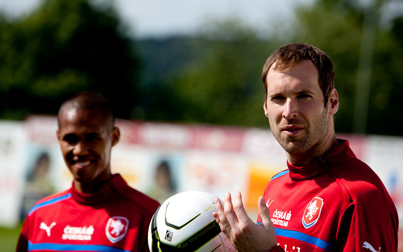 Petr Cech and Theo Gebre Selassie, T-Mobile Football Shoot 2012
