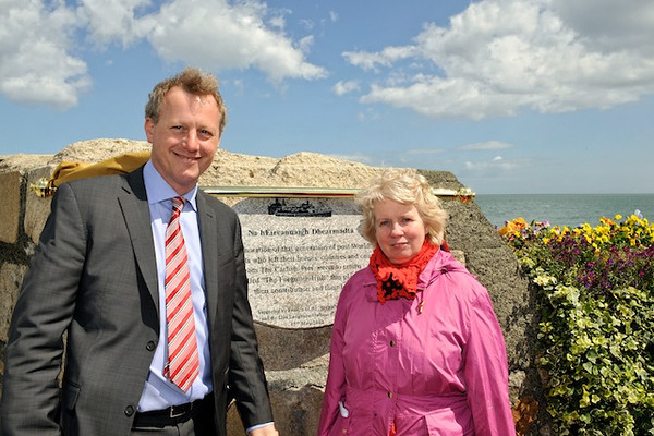 """Cllr Sally Mulready unveils """"Forgotten Irish"""" Commemorative Plaque on the East Pier in Dún Laoghaire Tuesday 15 May 2012 at 1pm. An Cathaoirleach Cllr John Bailey welcomed everyone to the event. Image features Mr Sean Costello, Chairman, Dún Laoghaire Harbour Company and Cllr Sally Mulready, member of the Irish Council of State. Photograph Margaret Brown"""
